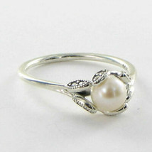 Pandora 190967P Luminous Leaves Pearl Ring Sz 6 52 Cubic Zirconia 925 Ne... - $67.89