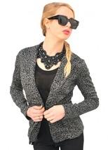 Leopard Print Body Fit Grey Blazer with Stylish Flap - $26.99