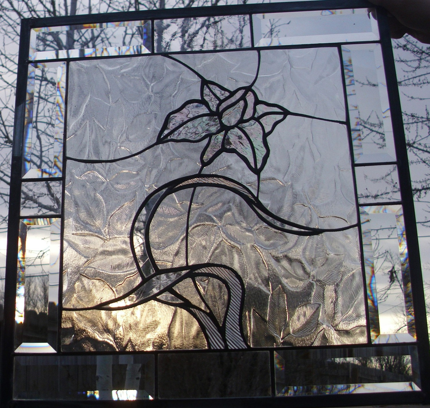 Stained Glass Window Panel Clear Elegant Textures Beveled Glass Floral