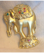 Vintage AJC signed Circus elephant pin  red green blue Rhinestones - $10.00