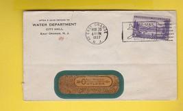 WATER DEPARTMENT CITY HALL EAST ORANGE NEW JERSEY 11/30/1937 WINDOW ENVE... - $1.98
