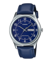 Casio Analog Display Blue Dial Leather Men's Round Watch-MTP-V006L-2BUDF - $31.67