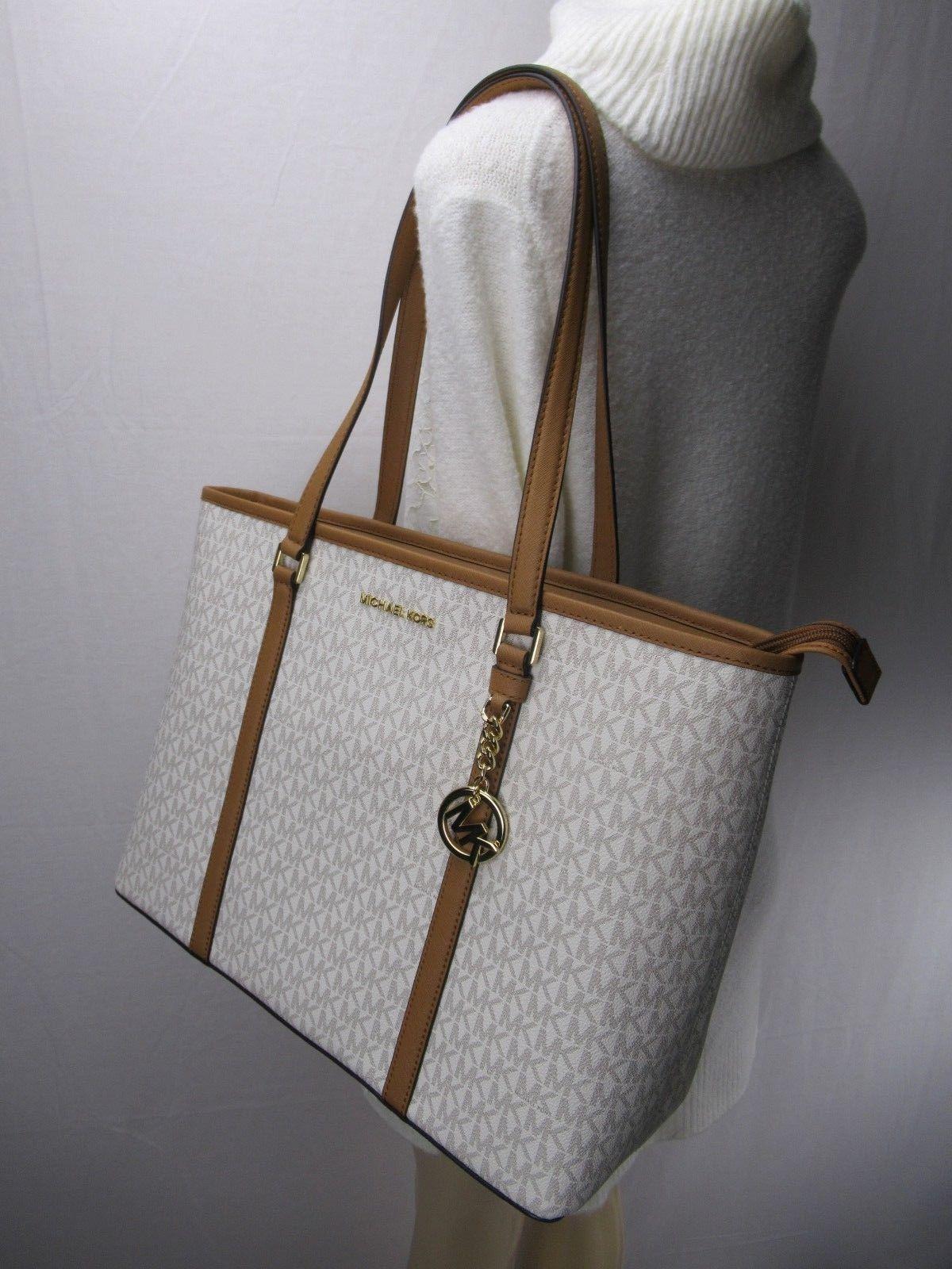 67e012ee1713 NWT Michael Kors PVC Sady Vanilla Large Weekender Travel Tote Bag Laptop -   195.00