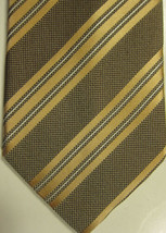 NEW Ermenegildo Zegna Gold With Fine White Stripe Long Silk Tie - $67.08