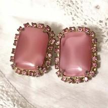 Huge Vintage Pink Moonstone Rhinestone Earrings - $38.00