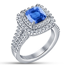 Womens Engagement Ring Cushion Cut Blue Sapphire 14k White Gold Over 925... - £59.74 GBP