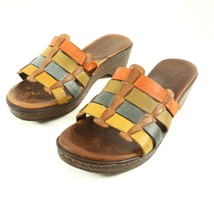 Born Lolo Multi Color Leather Strap Wedge Sandals Slides Shoes Womens 8 - $29.54