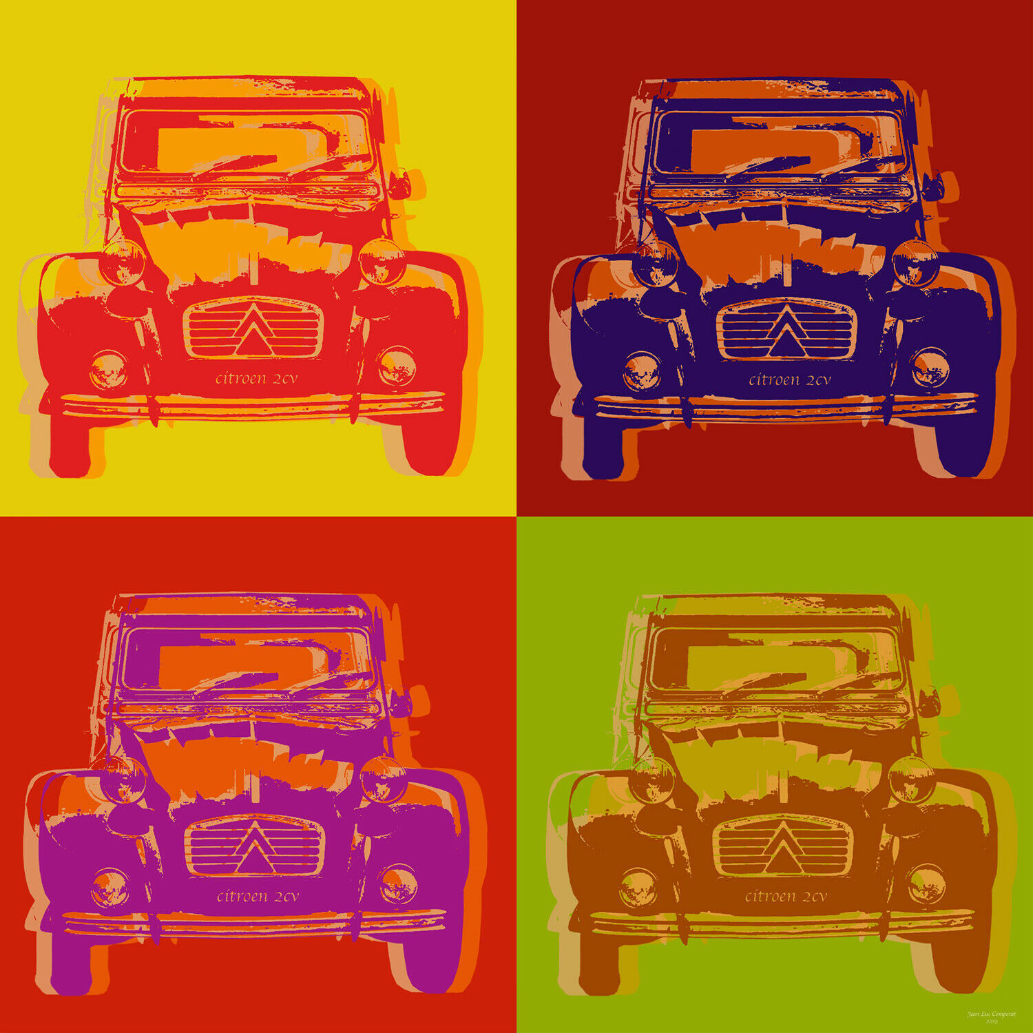 "Citroen 2CV Pop Art Warhol style poster print - 17 1/2"" x 17 1/2"" - on canvas"