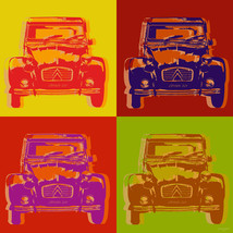 "Citroen 2CV Pop Art Warhol style poster print - 17 1/2"" x 17 1/2"" - on c... - $64.35"