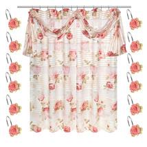 Popular Bath Madeline Beige Collection Fabric Shower Curtain & Hook Set - $44.99