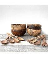 Family Set Coconut Bundle I Set of 4 Coconut Bowls | Reusable Coconut Cu... - £32.65 GBP
