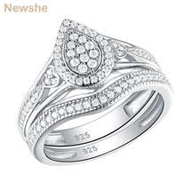925 Sterling Silver Wedding Rings For Women Pear & Heart Shape Round Cut AAA CZ