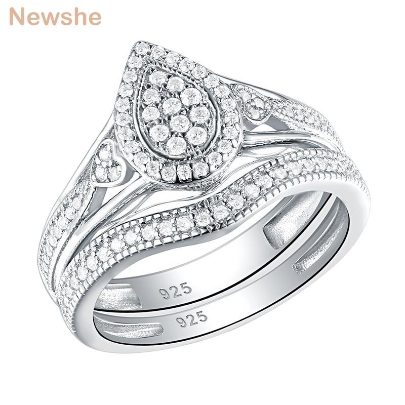 Newshe 925 sterling silver wedding rings for women pear heart shape round cut aaa cz engagement