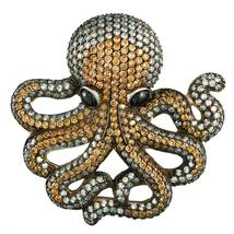 Zirconia Studded Octopus Sterling Silver Pin/Pendant - $588.00