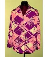 Unique Pink Purple 60's Vintage Women's Abstrac... - $20.00