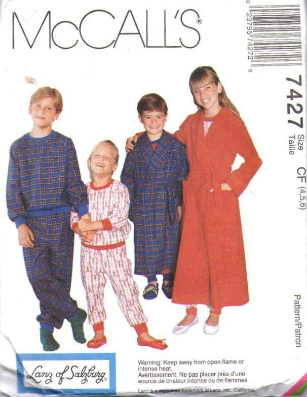 McCall's Pattern 7427 Children's Pajama Bottoms and Tops a Robe with Tie