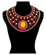Multi Color with Black and White Bead Embroidered Bib Necklace Set - $59.99