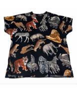 Women's Safari Jungle Zebra Lion Tiger Elephant Scrub Shirt Size Medium ... - $8.95