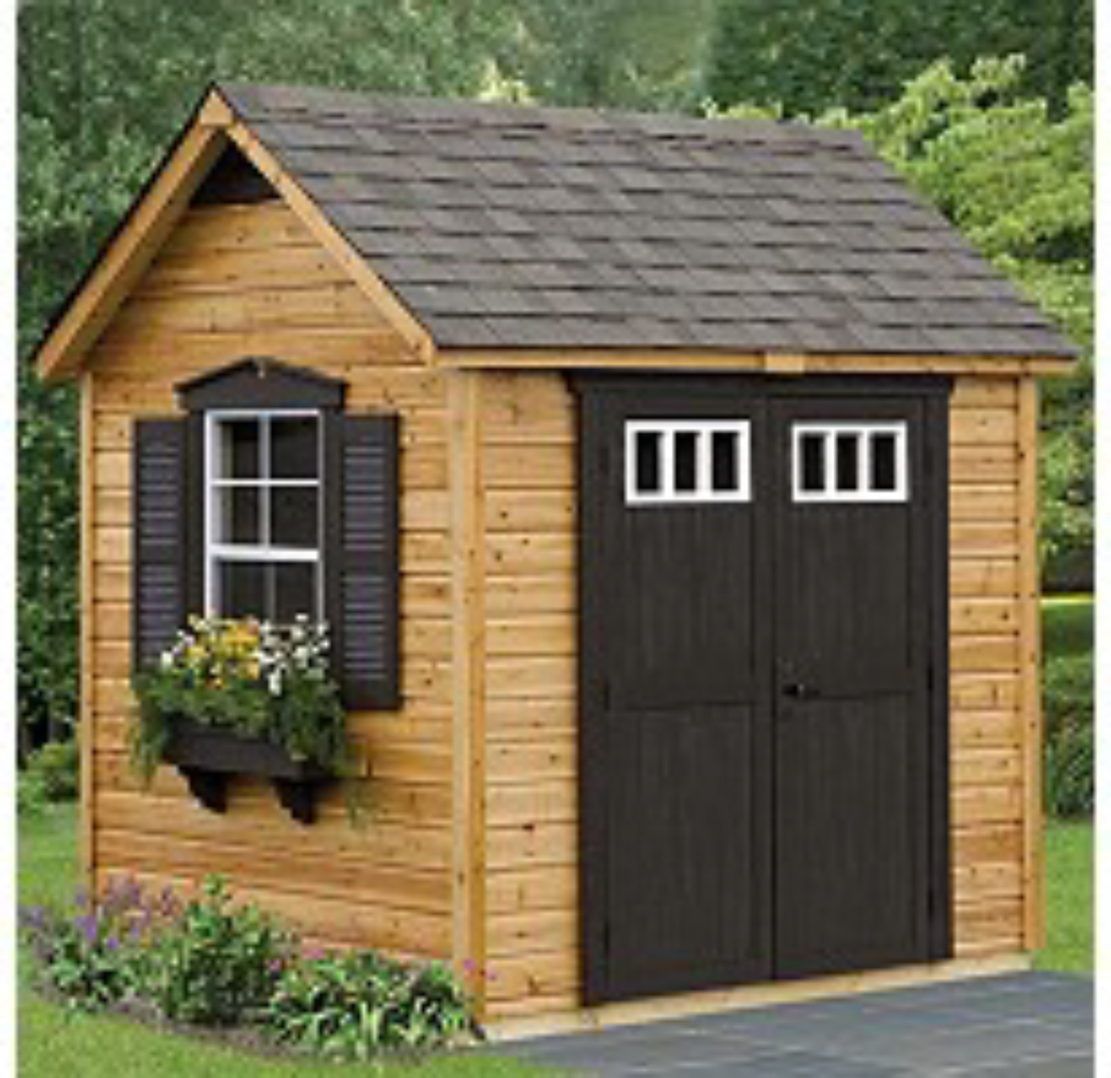 Suncast legacy garden building outdoor storage shed wood for Outdoor wood shed