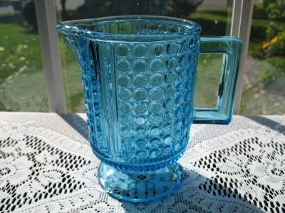 EAPG Antique Blue Glass Creamer - Three Panel