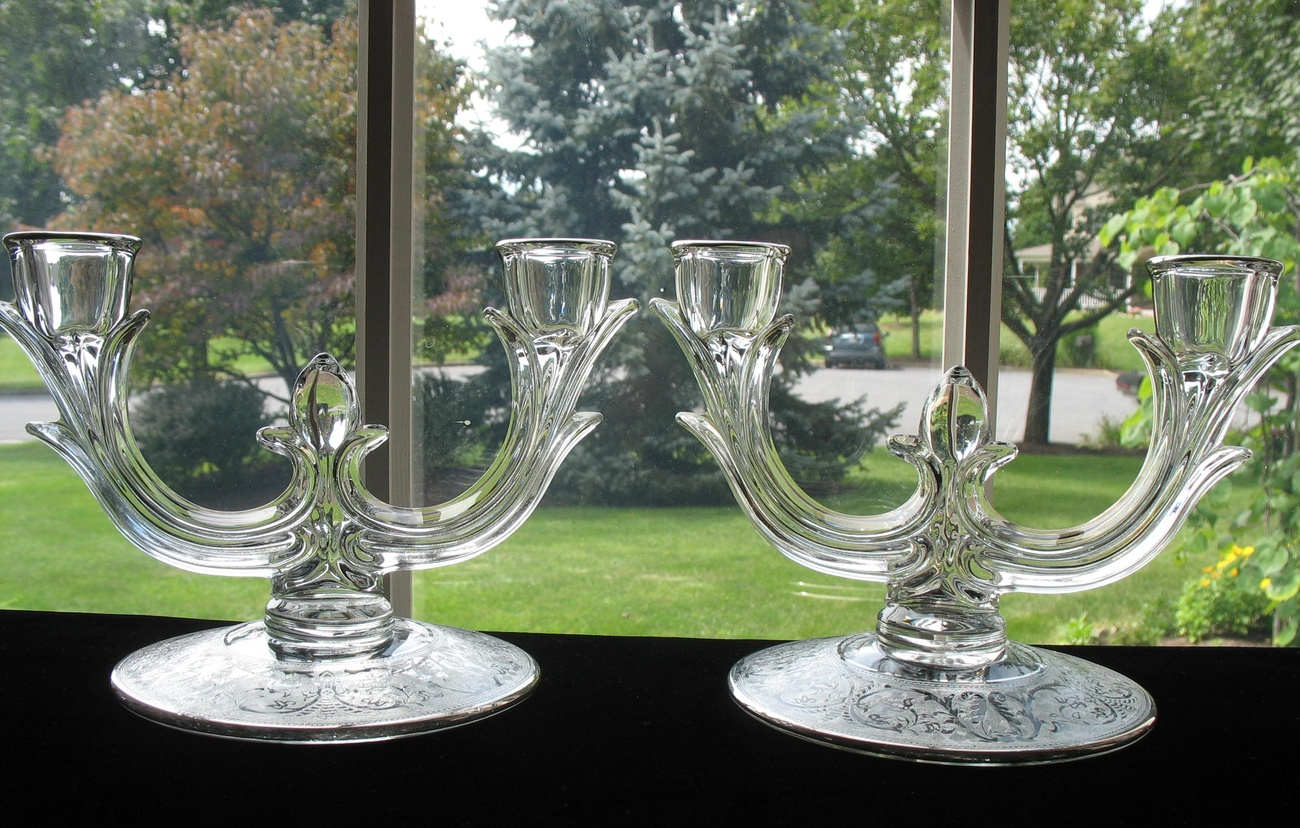 New Martinsville Etched 2 Light Candlesticks #952