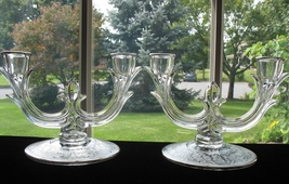New Martinsville Etched 2 Light Candlesticks #952 - $32.00