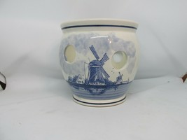 "DELFT Blauw Ceramic Bulb Vase Holland Windmill Vintage Hand Painted 4 3/4"" EUC - $17.95"