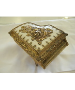 Vintage Piano Shaped Metal JEWELRY BOX with Roses Made in JAPAN Heavy  - $4.99