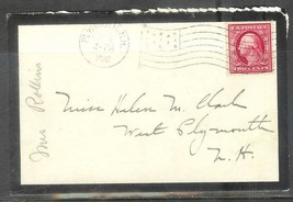 1910 Mourning Cover, Plymouth New Hampshire Flag cancel - $4.00