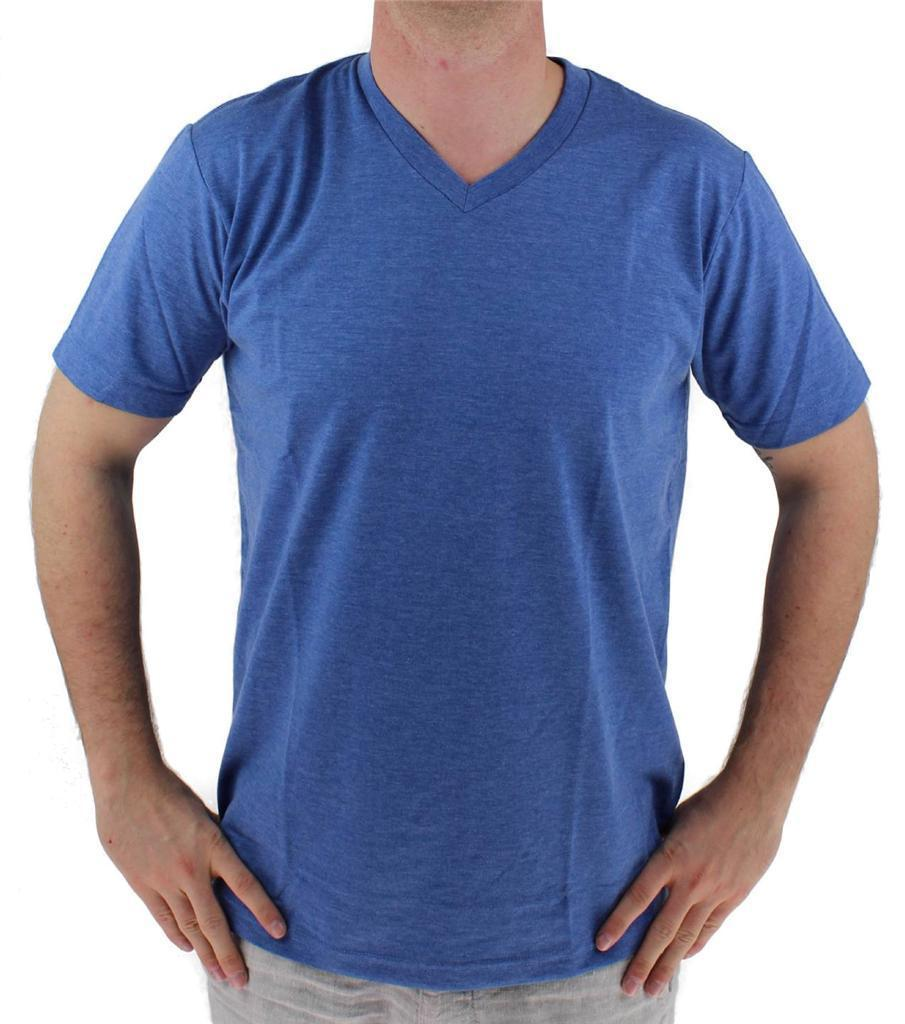 NEW GIOBERTI MEN'S CLASSIC ATHLETIC V NECK T-SHIRT TEE H-ROYAL BLUE VN-9503