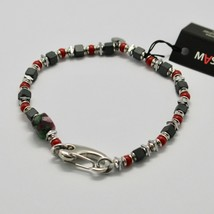 Silver 925 Bracelet Ruby Zoisite Coral Bpan-13 Made in Italy by Maschia - $98.59
