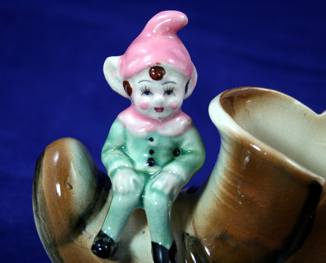 Vintage Ceramic Pixie Elf Sitting on a Shoe - Japan