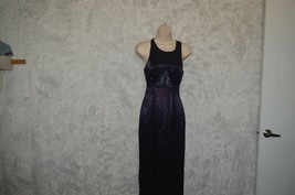 Blondie and Me evening gown open criss-cross dress midnight blue SZ 3/4 - $4.89