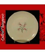 Homer Laughlin RY356 China Pink Flowers Gray Black Leaves 9 Salad Plates - $53.45