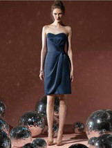 Dessy 8101...Cocktail length, strapless, Satin Dress...Midnight...Sz 14 - $49.49