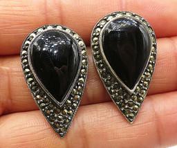 925 Silver - Vintage Black Onyx & Marcasite Tear Drop Stud Earrings - E4296 - $33.68