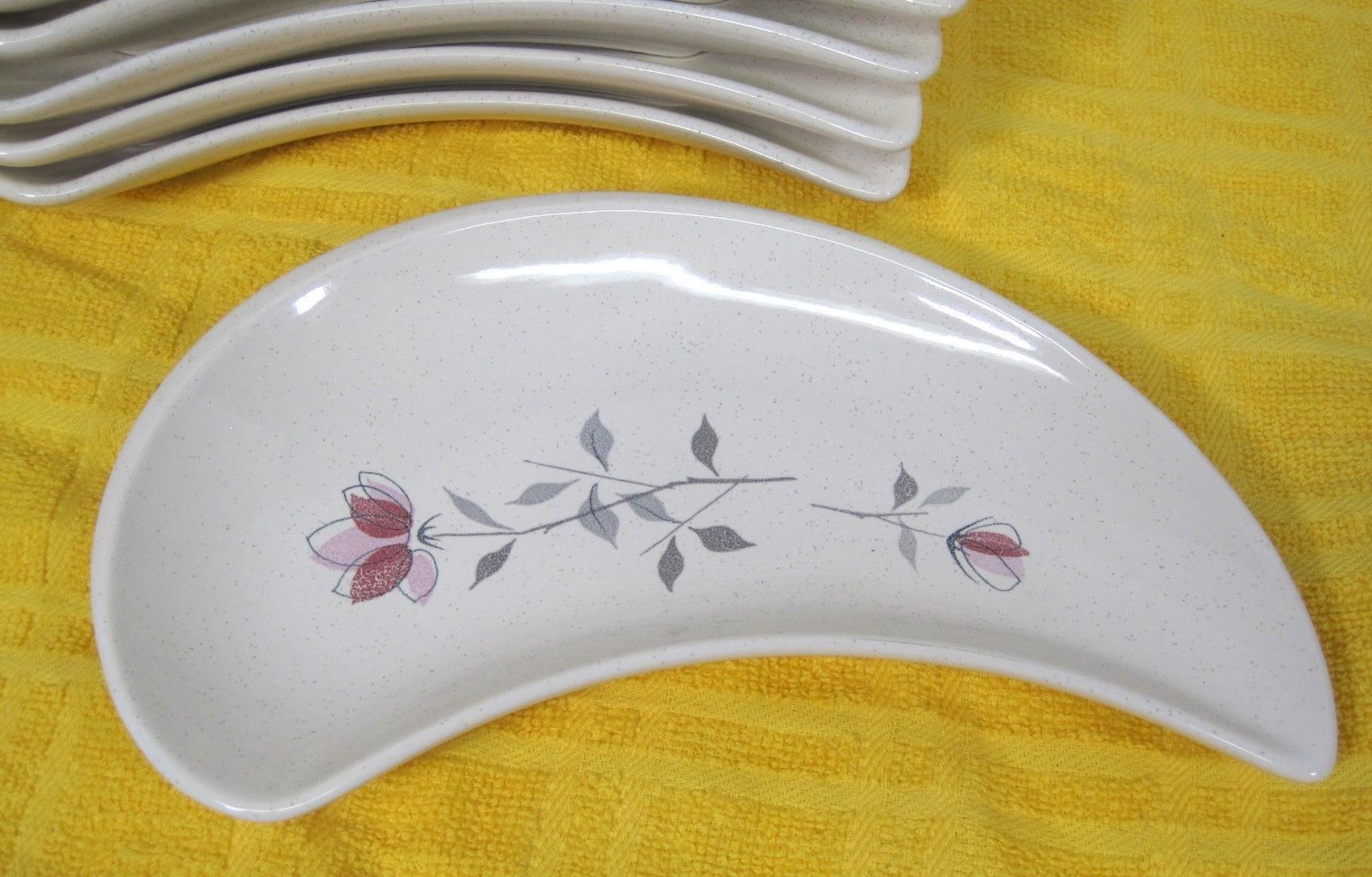 Franciscan Duet 1956-1961 Crescent Salad Plate Pink Rose Design 2 Back Marks