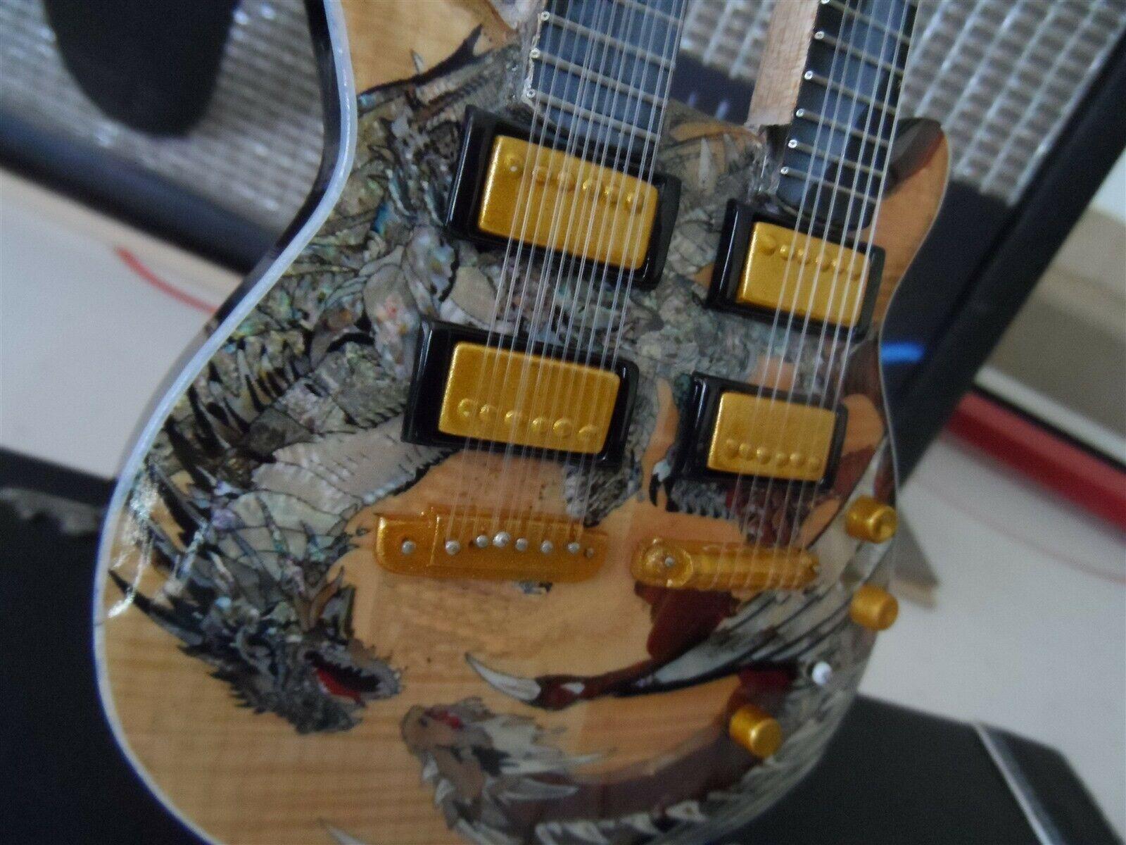 Santana - Prs Dragon Jaune Double Col Sig Custom 1:4 Échelle Réplique Guitare ~