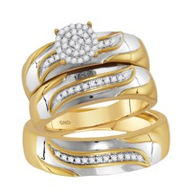 10kt Two-tone Gold His & Her Diamond Cluster Matching Bridal Wedding Ring Set - $677.07