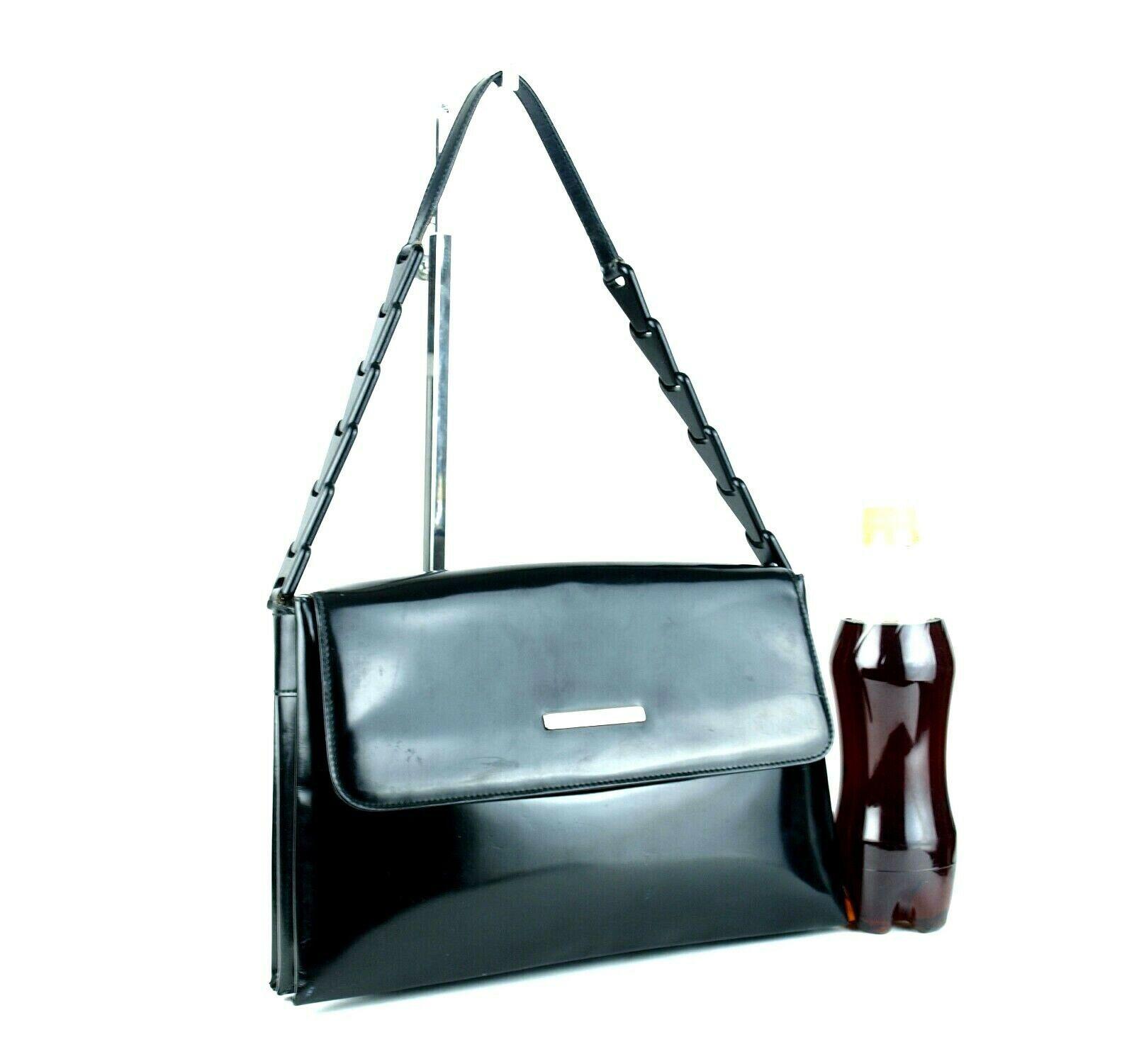 Authentic GUCCI Black Patent Leather & PVC Chain Semi Shoulder Bag Purse Italy