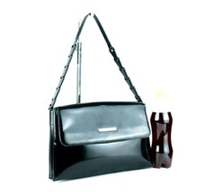 Authentic GUCCI Black Patent Leather & PVC Chain Semi Shoulder Bag Purse... - $157.41