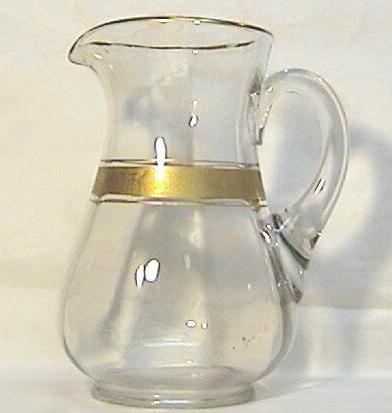 Depression Era Glass Pitcher with Gold Decoration