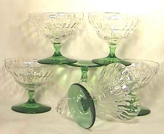 Six Depression Glass Crystal Sherbets with Green Stems