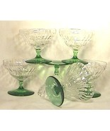 Six Depression Glass Crystal Sherbets with Green Stems  - $120.00