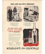 1947 Vintage Ad Heublein's Club Cocktails, Some Jobs Call For a Specialist - $8.99