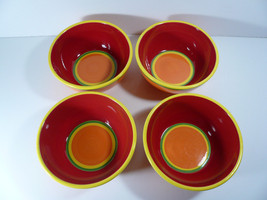 Set of 4 Dansk Soup Cereal Bowls Caribe Aruba Orange Handpainted - $25.00