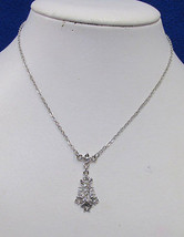 Charter Club Necklace & Clear Rhinestone Star Tree Cluster Silver Tone M... - $12.22