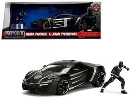 "Lykan Hypersport Black with Black Panther Diecast Figure \""Marvel\"" Series 1/24  - $40.90"