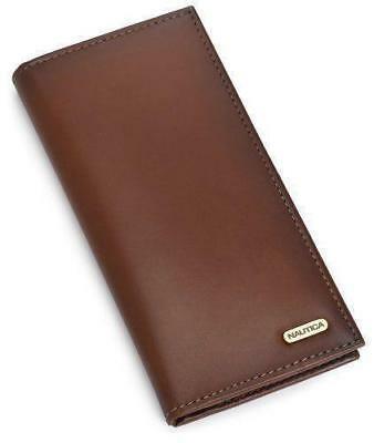 Nautica Men's Leather Secretary Checkbook Wallet Organizer Purse Tan 31NU19X005
