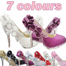 7color Vogue lace Flowers Crystal High Heels Wedding Bridal dancing part... - $24.29